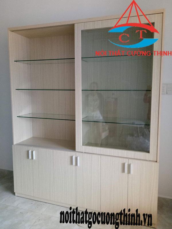 Tủ đựng và trưng bày mỹ phẩm gỗ công nghiệp cánh lùa và cánh mở
